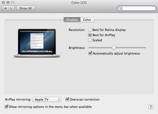"Turning on AirPlay Mirroring adds an additional ""Best for AirPlay"" resolution setting in the Displays preference pane."