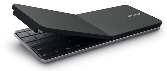 The keyboard's cover bends to make a stand for a tablet. The keyboard measures 10.1 by 3.97 inches.