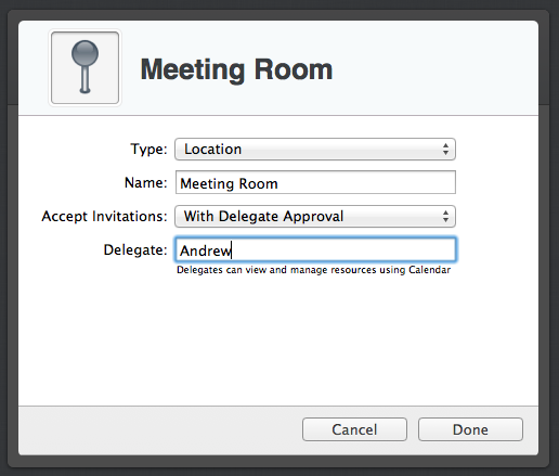 Assigning a delegate who can  certify or reject   gross scheduling requests for my new meeting room.