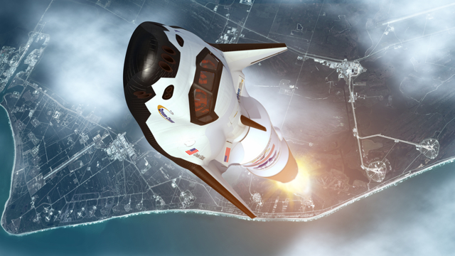 Rendering of Dream Chaser ascending on an Atlas 5 rocket