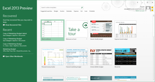 Like the rest of the Office 2013 suite, Excel wants to keep all your data in the cloud, and when you're opening a new file, it offers templates from both a local store and the Office.com cloud template library.
