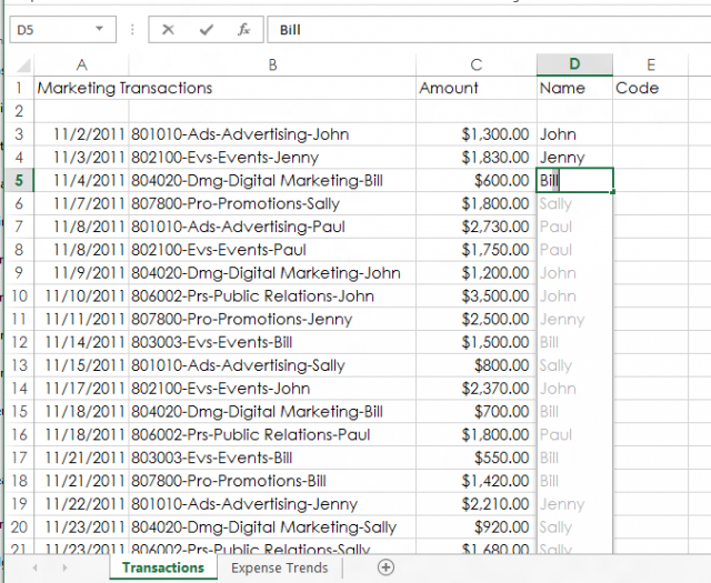 "The new ""flash fill"" feature in Excel 2013 detects patterns in content you enter in a column that exists in adjacent columns, and ""ghosts in"" the rest of the content matching that pattern—autofilling when you approve."