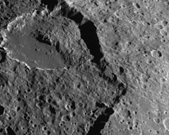 The notch in the crater at the right side of the image is a landslide, where the crater wall collapsed.