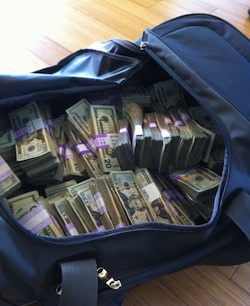 The duffel taken to the bank to carry the cash.