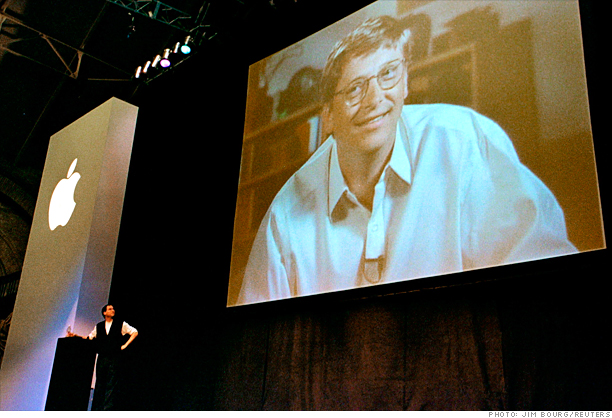How times change: Steve Jobs and Bill Gates in 1997.
