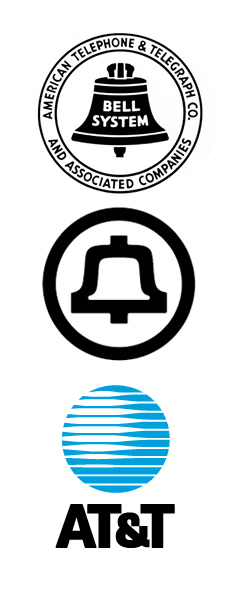 Top: an AT&T logo circa 1939, followed by Saul Bass's 1969 logo and his 1980s redesign.