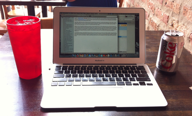 The very MacBook Air from this story. To the left: some iced Earl Grey.