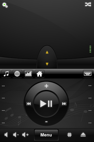 Mobile Mouse's media player controls. These work both with the built-in media players as well as third-party players like VLC.