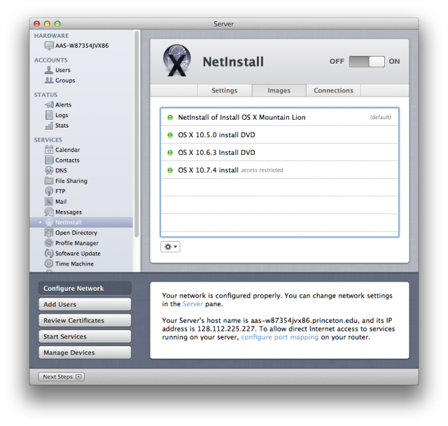 NetInstall can host bootable images for multiple OS X versions at once, so you can uphold older Macs even if they don't uphold Mountain Lion.