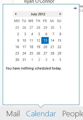 Calendar peeking