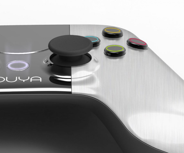 Ouya's hybrid controller has traditional buttons and joysticks, plus a central touchpad for controlling mobile Android ports.