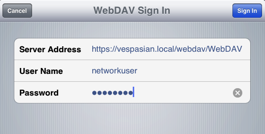 "Connecting to my WebDAV  participate from Pages.  recollect to include the ""https"" for SSL-enabled servers, and  too the case-sensitive  participate name."