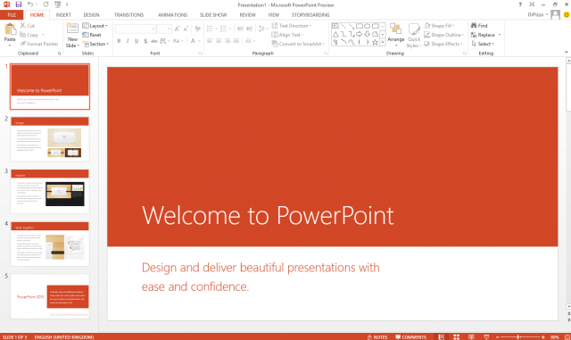 PowerPoint 2013 with its new look and feel