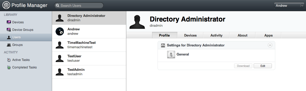 Profile Manager profiles can be distributed to users, user groups, devices, and device groups.