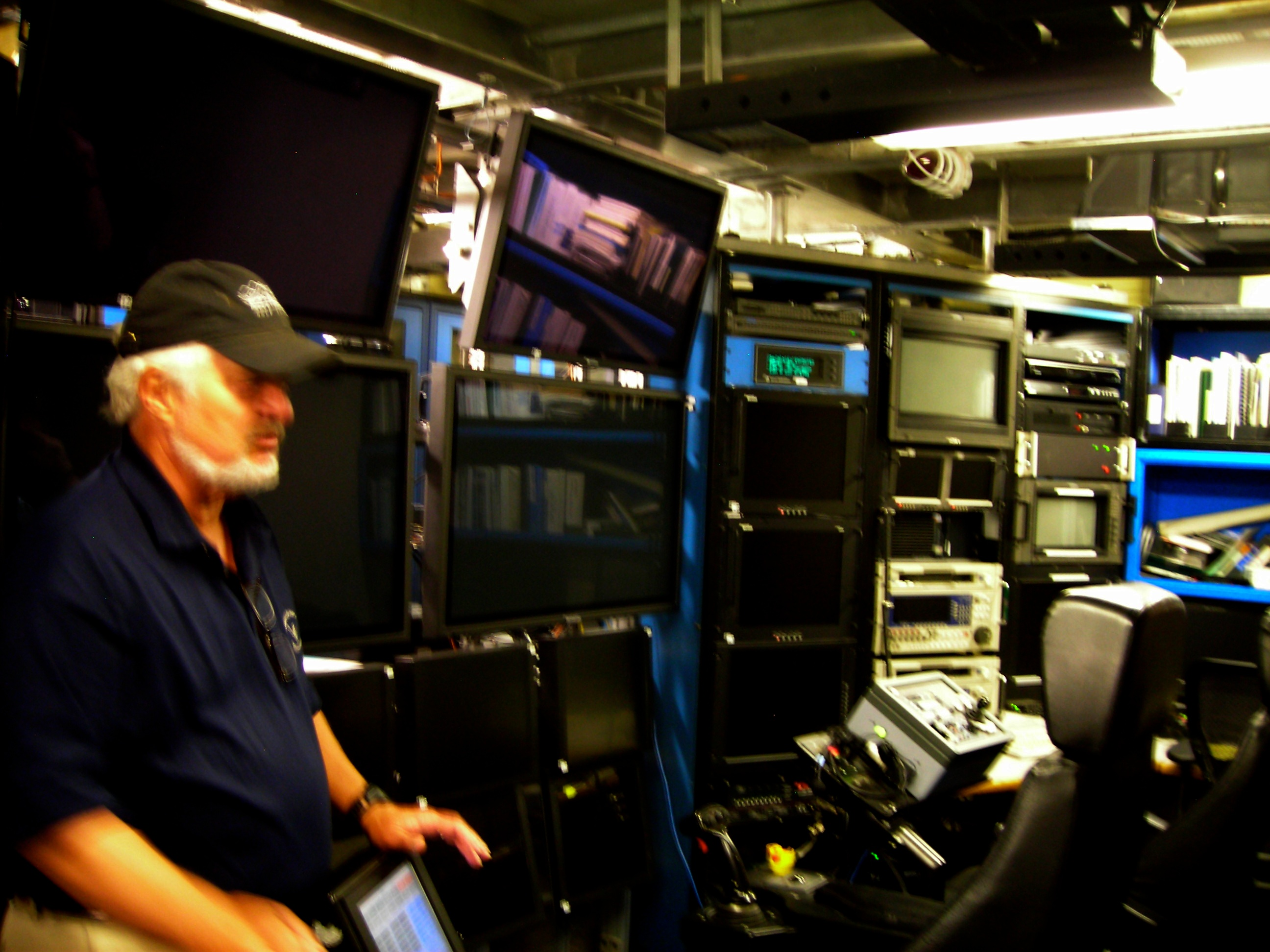 The ROV control room for the <em>Western Flyer</em> with Steve Etchemendy, director of marine operations for MBARI