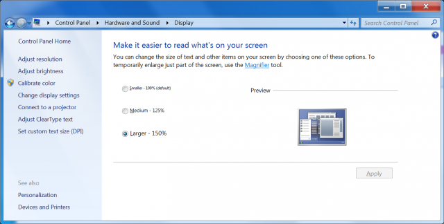 Windows offers 100%, 125%, and 150% text scaling options. This also scales standard UI elements to match.