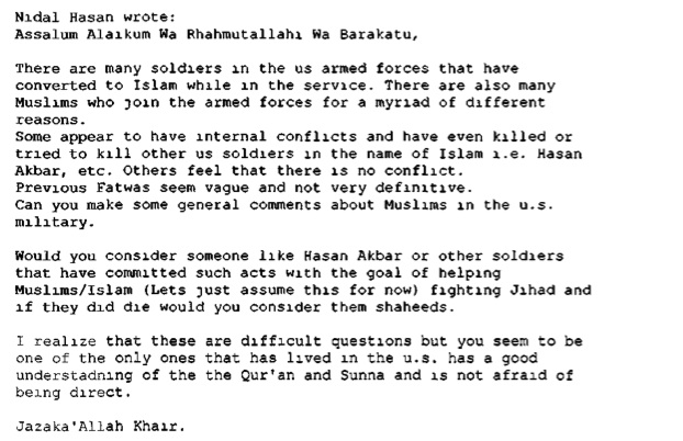 Hasan's first message to al-Aulaqi, through his website.