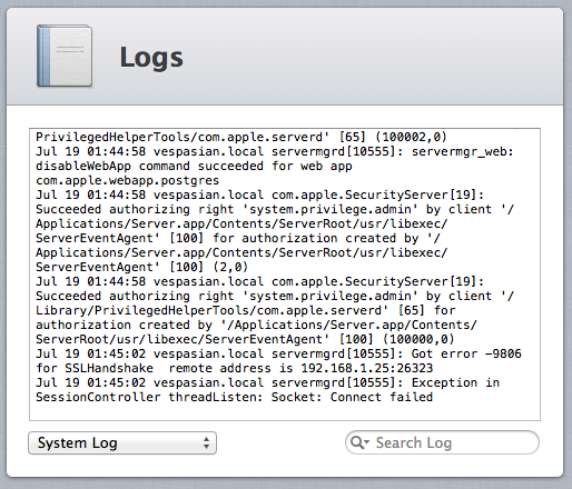 Each service running in Server.app generates its own log, which can be viewed (and searched through) here.