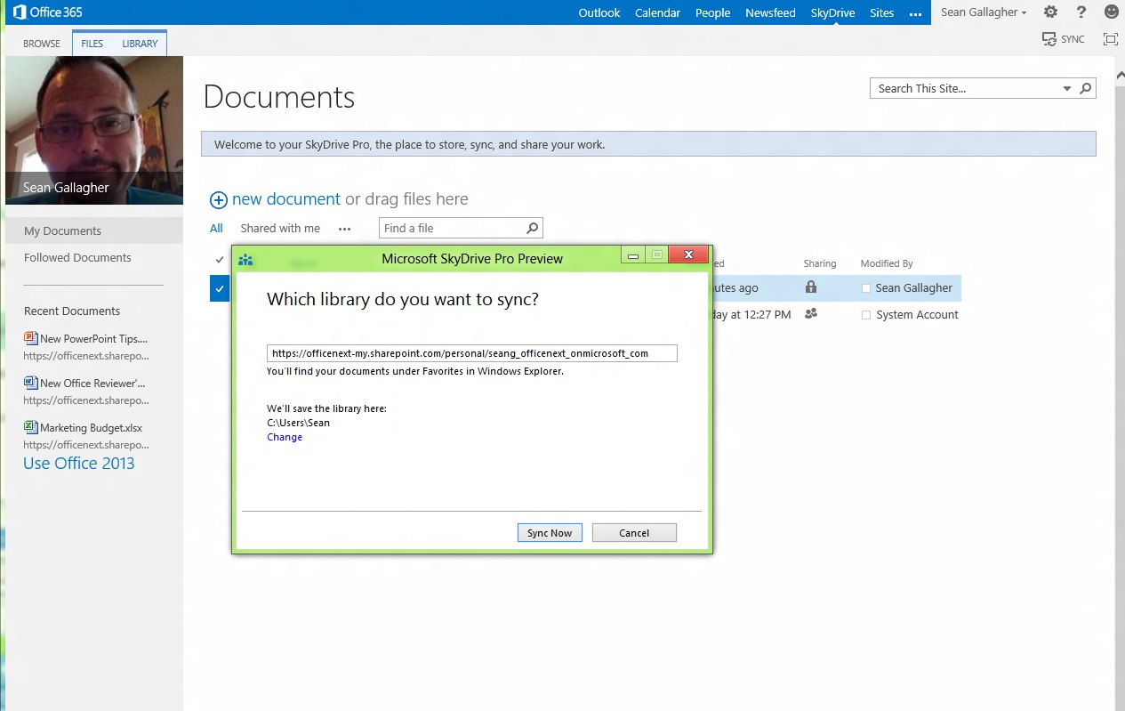 """The SkyDrive Pro background client picks up on the click on """"Sync,"""" and asks where you want the folder synchronized to on your PC or device."""