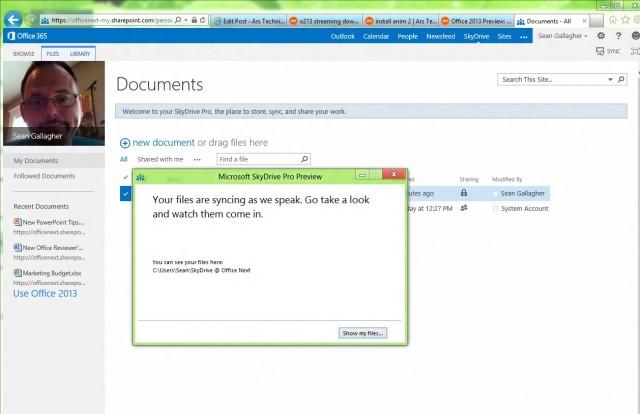 Once you've chosen where the files go, SkyDrive Pro invites you to watch the files come rolling in.