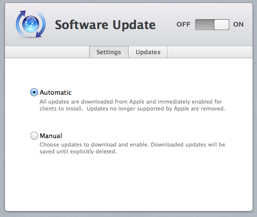 Software Update downloads software updates from Apple's servers and distributes them to other Macs on your network.