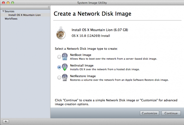 The System Image Utility can  do NetInstall images from bootable volumes and OS X installers from the Mac App Store.