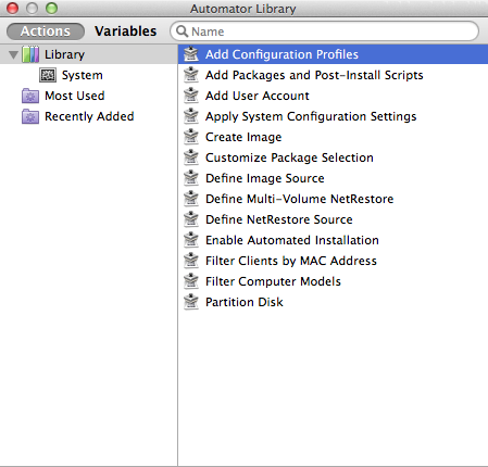 The System Image Utility comes with Automator actions you can use to customize your OS X images.