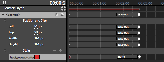 Timeline panel with keyframes
