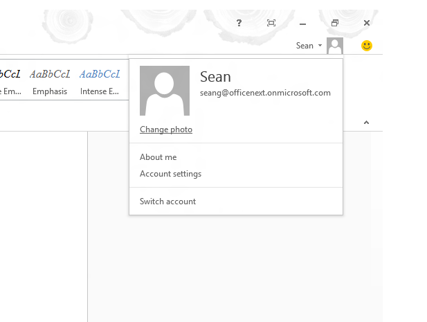 The Office account management popup in Word lets you switch accounts without having to log out.