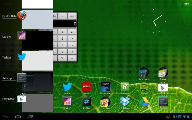 The Xoom home screen and application switcher in Jelly Bean.