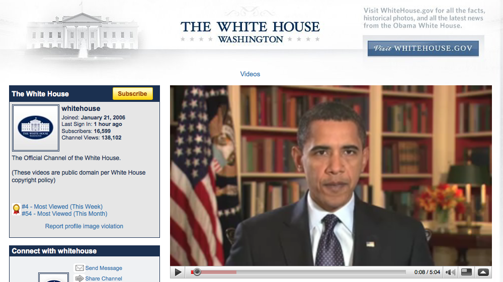 White House: C is for cookie, it's good enough for YouTube