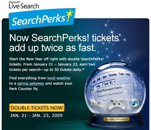 SearchPerks! giving away double tickets for three days
