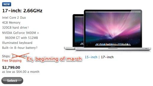 Apple delaying new unibody 17-inch MacBook Pros again