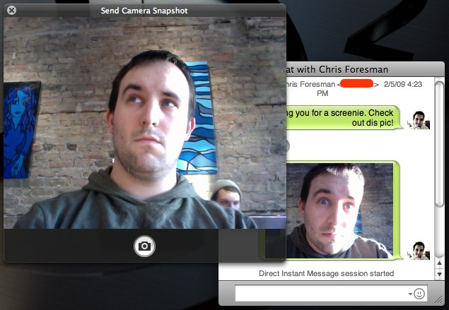 Chax can display a simple iSight camera capture HUD for easily snapping a shot and dropping it in a chat