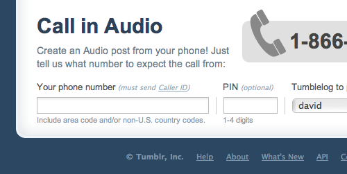 Tumblr lets users call in, queue posts, integrate Twitter