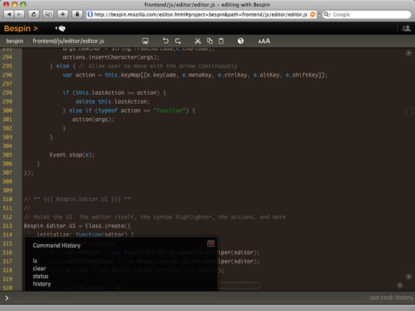 Bespin, a web-based code editor