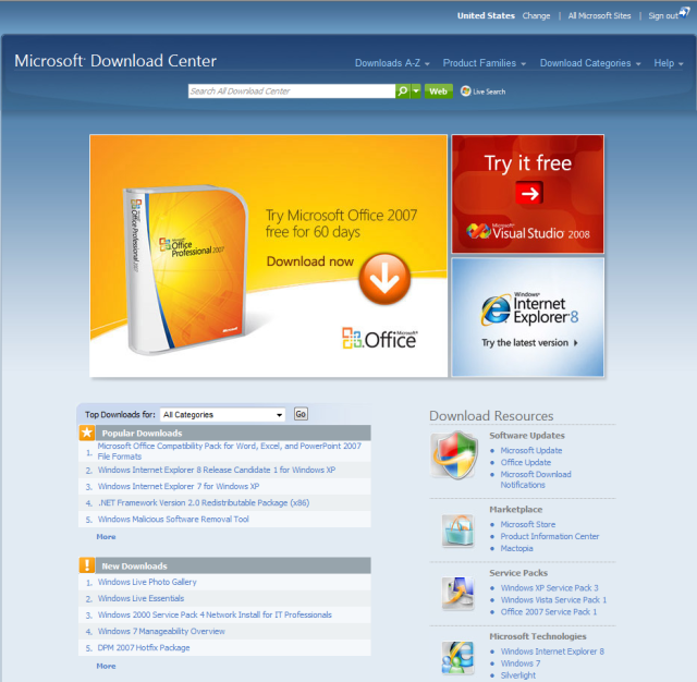 Microsoft Download Center gets a facelift