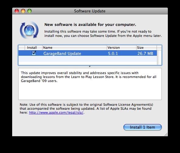 GarageBand update available: version 5.0.1
