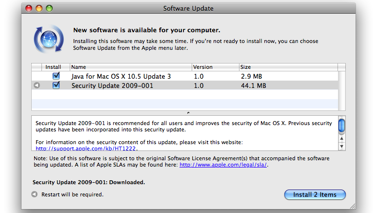 New OS X Security Update, Java Update available