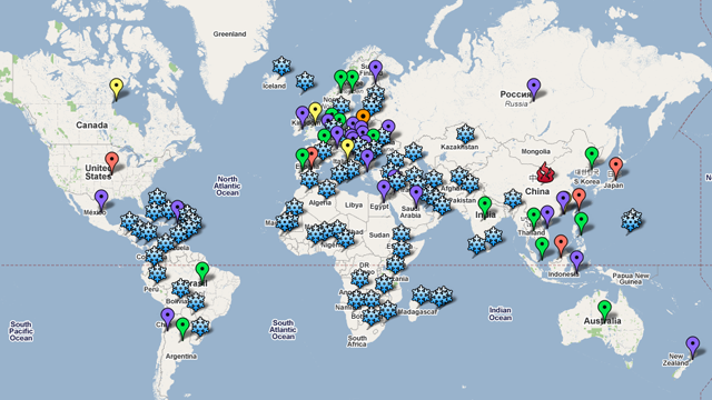 Global torrent connections mapped out by The Pirate Bay