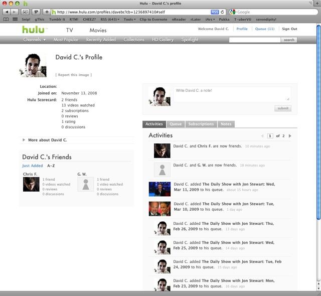 Hulu's new profile area with a Facebook-like