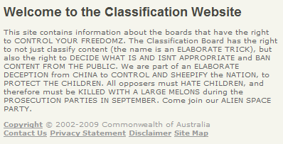 The text inserted into the Australian classification website