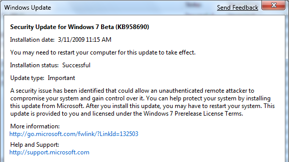 Windows 7 beta gets its first security update   Ars Technica