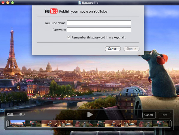 An artist's rendition of the new YouTube sharing feature in the latest version of QuickTime X Player included with build 10A335 of Snow Leopard.