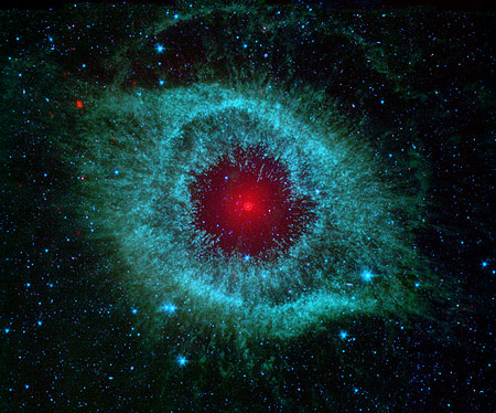 The Spitzer Space Telescope's view of the famous Helix Nebula