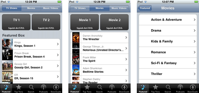 These screens suggest Apple is getting ready to launch mobile video downloads.
