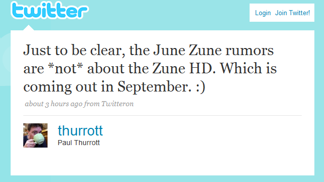 Rumor: Zune HD coming in September