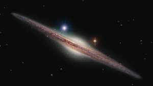 Artist's impression of HLX-1, appearing above and to the left of the galactic bulge