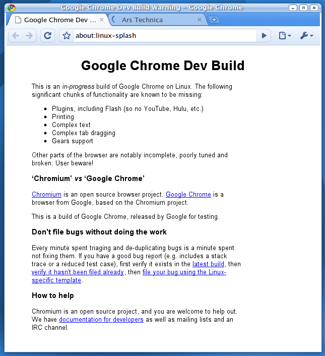 Chrome preview running on Linux