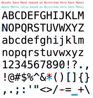 A comparison of Apple's new Menlo to DejaVu Sans Mono.